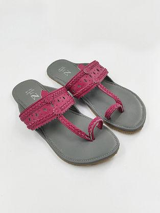 Pink Handcrafted Leather Kolhapuri Flats