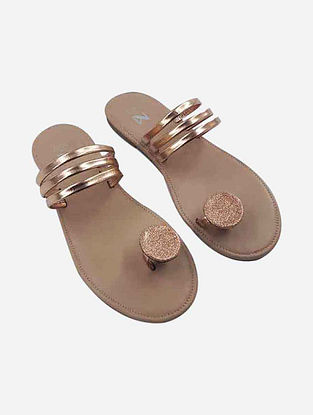 Gold Handcrafted Leather Flats