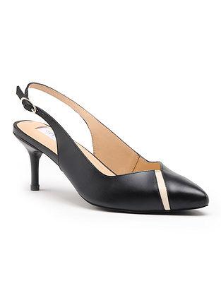 Black Handcrafted Genuine Leather Pencil Heels