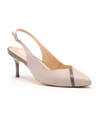 Grey Handcrafted Genuine Leather Pencil Heels