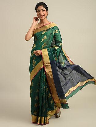 Green Handwoven  Chanderi Silk  Saree
