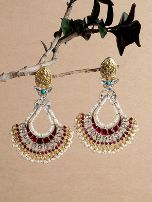 Maroon Gold Tone Silver Earrings with Stones and Pearls