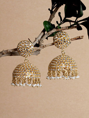 Gold Tone Silver Jhumki Earrings with Pearls