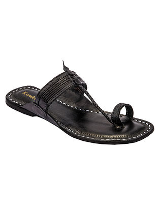 Black Handcrafted Genuine Leather Kolhapuri Flats