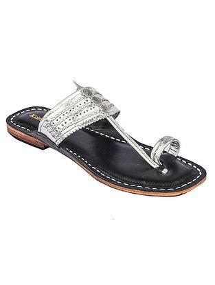 Silver Handcrafted Genuine Leather Kolhapuri Flats