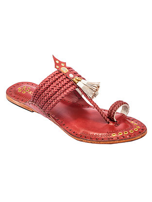Cherry Red Handcrafted Genuine Leather Kolhapuri Flats