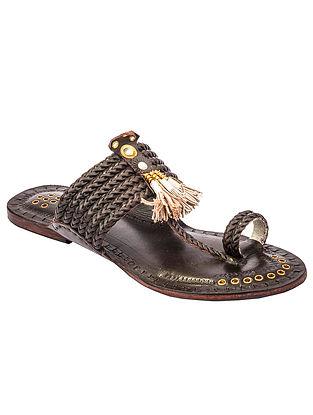 Brown Handcrafted Genuine Leather Kolhapuri Flats