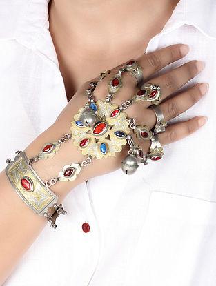 Multicolour Tribal Silver Afghani Hand Harness