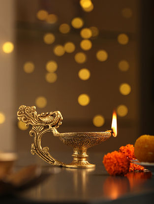 Antique Gold Diya With Bird Handle (L-6in, W-2.5in, H-3.8in)