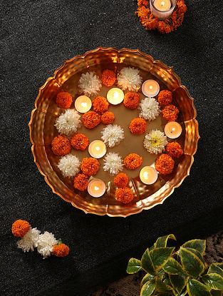 Matt Gold Flower Shape Urli (Dia-14.5in, H-3.2in)