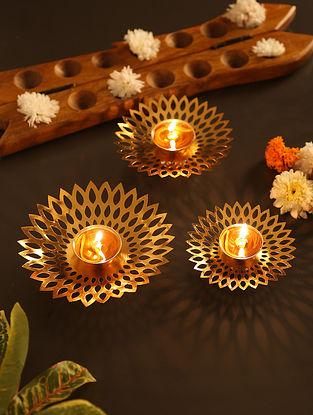 Brass Diya Bati In Flower Shape (Set Of 3)