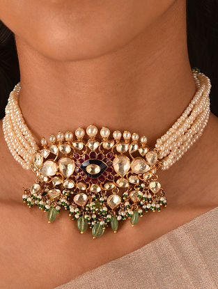 Red Blue Green Gold Tone Vellore Polki Silver Choker with Pearls