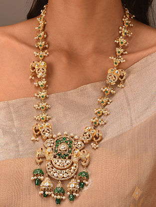 Green Gold Tone Vellore Polki Silver Necklace with Fresh Water Pearls