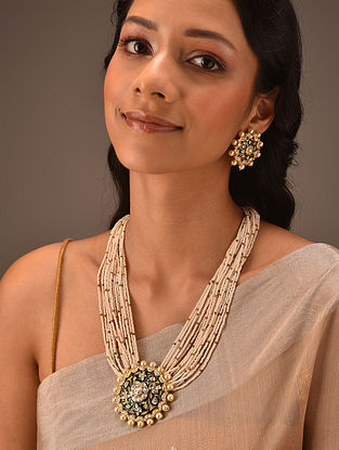Dark Blue Gold Tone Vellore Polki Silver Necklace Set with Fresh Water Pearls