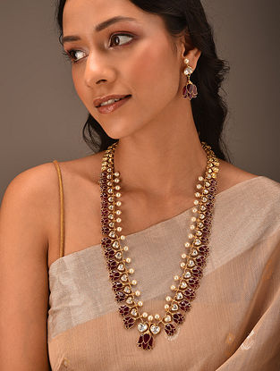 Red Gold Tone Vellore Polki Silver Necklace Set with Fresh Water Pearls