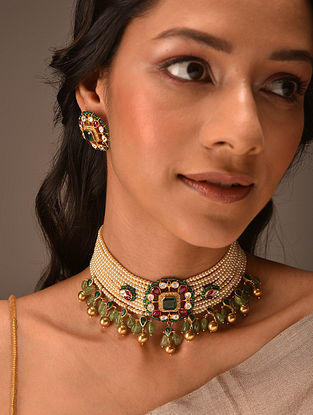 Red Green Gold Tone Vellore Polki Silver Choker Set with Fresh Water Pearls
