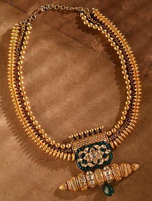 Green Gold Tone Vellore Polki Silver Necklace