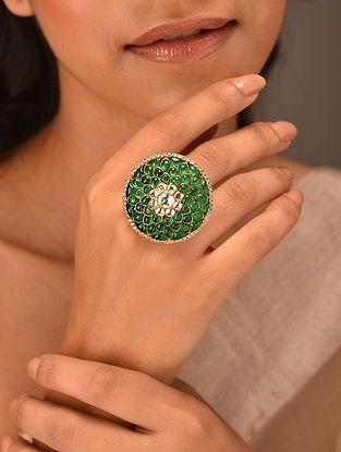Green Gold Tone Vellore Polki Adjustable Silver Ring