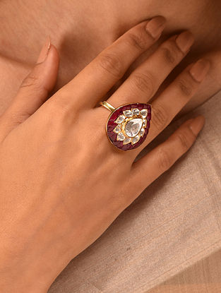Red Gold Tone Vellore Polki Adjustable Silver Ring
