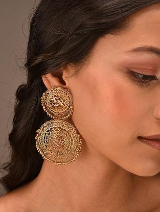 Gold Tone Vellore Polki Silver Earrings
