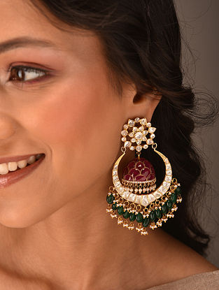 Red Green Gold Tone Vellore Polki Silver Earrings