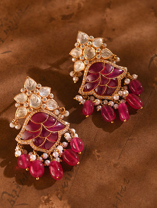 Red Gold Tone Vellore Polki Silver Earrings with Fresh Water Pearls