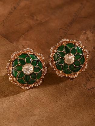 Green Gold Tone Vellore Polki Silver Earrings