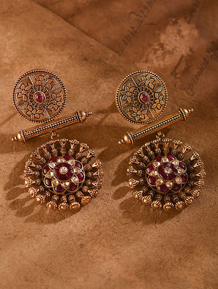 Red Gold Tone Vellore Polki Silver Earrings