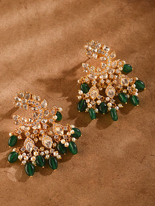Green Gold Tone Vellore Polki Silver Earrings with Fresh Water Pearls