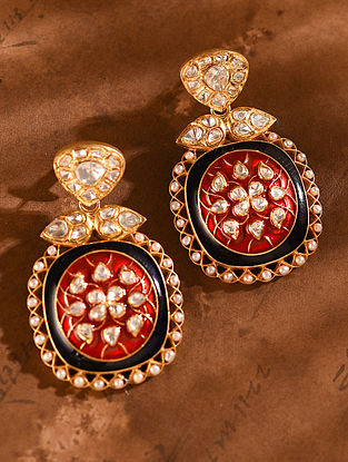 Red Blue Gold Tone Vellore Polki Silver Earrings