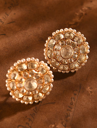 Gold Tone Vellore Polki Silver Earrings with Fresh Water Pearls