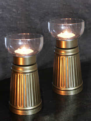 Aranya Iron Handcrafted Tealight Holders (Set of 2)