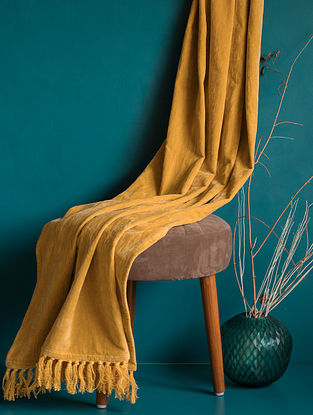 Yellow Vibrant Natural Fabric Tasseled Throw (L - 5.57ft, W - 4.26ft)
