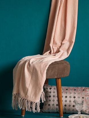 Blush Pink Natural Fabric Tasseled Throw (L - 5.57ft, W - 4.26ft)