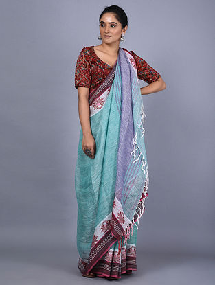 Turquoise-Blue Handwoven Natural Dyed Linen Saree