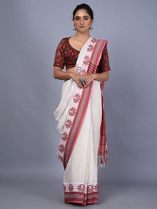 Ivory-Red Handwoven Natural Dyed Linen Saree