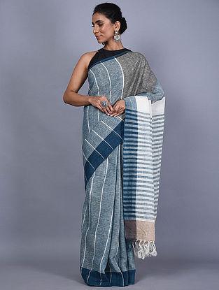 Blue-Grey Handwoven Natural Dyed Linen Saree