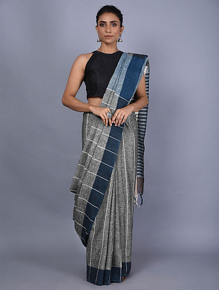 Grey-Blue Handwoven Natural Dyed Linen Saree