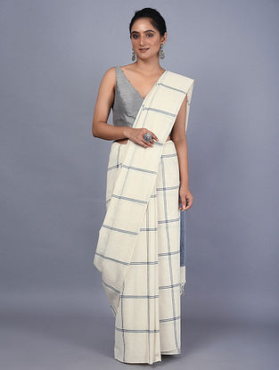 Ivory-Blue Handwoven Natural Dyed Cotton Saree