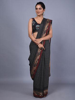 Black Handwoven Natural Dyed Cotton Saree
