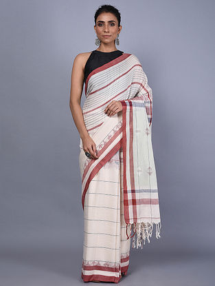 Ivory-Red Handwoven Natural Dyed Cotton Jamdani Saree