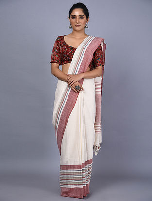 Ivory-Red Handwoven Natural Dyed Cotton Saree