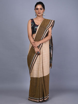 Brown-Peach Handwoven Natural Dyed Cotton Saree