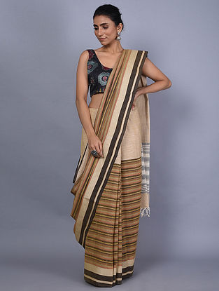 Beige-Ivory Handwoven Natural Dyed Cotton Saree