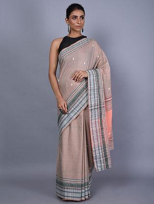 Pink Handwoven Natural Dyed Cotton Saree