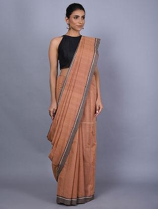 Brown Handwoven Natural Dyed Cotton Saree
