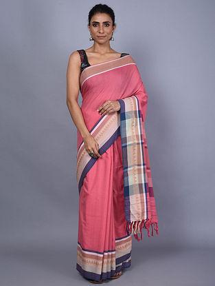 Pink-Blue Handwoven Natural Dyed Cotton Saree