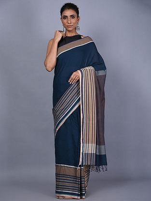 Blue Handwoven Natural Dyed Cotton Saree