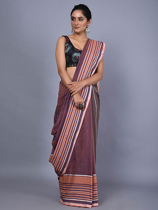 Purple Handwoven Natural Dyed Cotton Saree