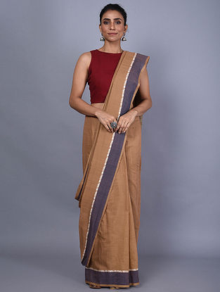 Beige Handwoven Natural Dyed Cotton Saree